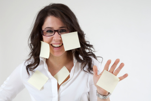 Girl with stickies on white background